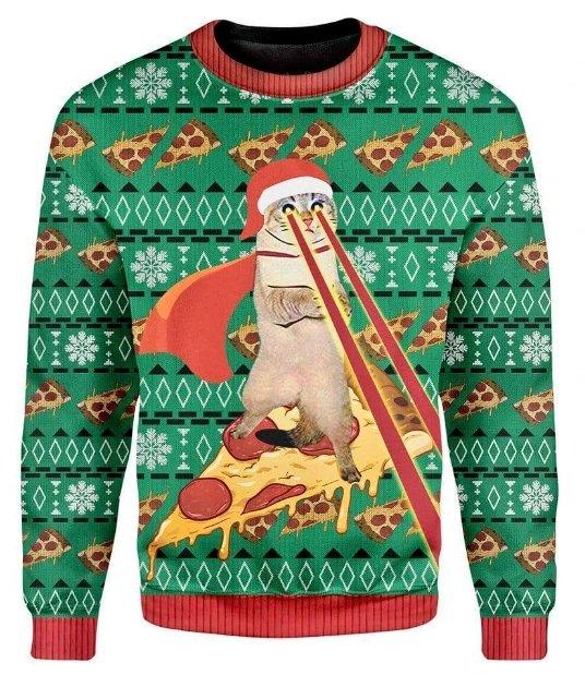 目からレーザーを出しながらピザに乗っているねこのセーター