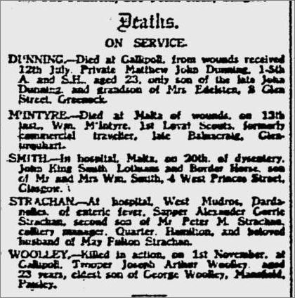 Glasgow Herald Friday 26th November 1915. Deaths on Service. #CWGC #WW1 #LestWeForget #ThisDayInHistory #WeRemember