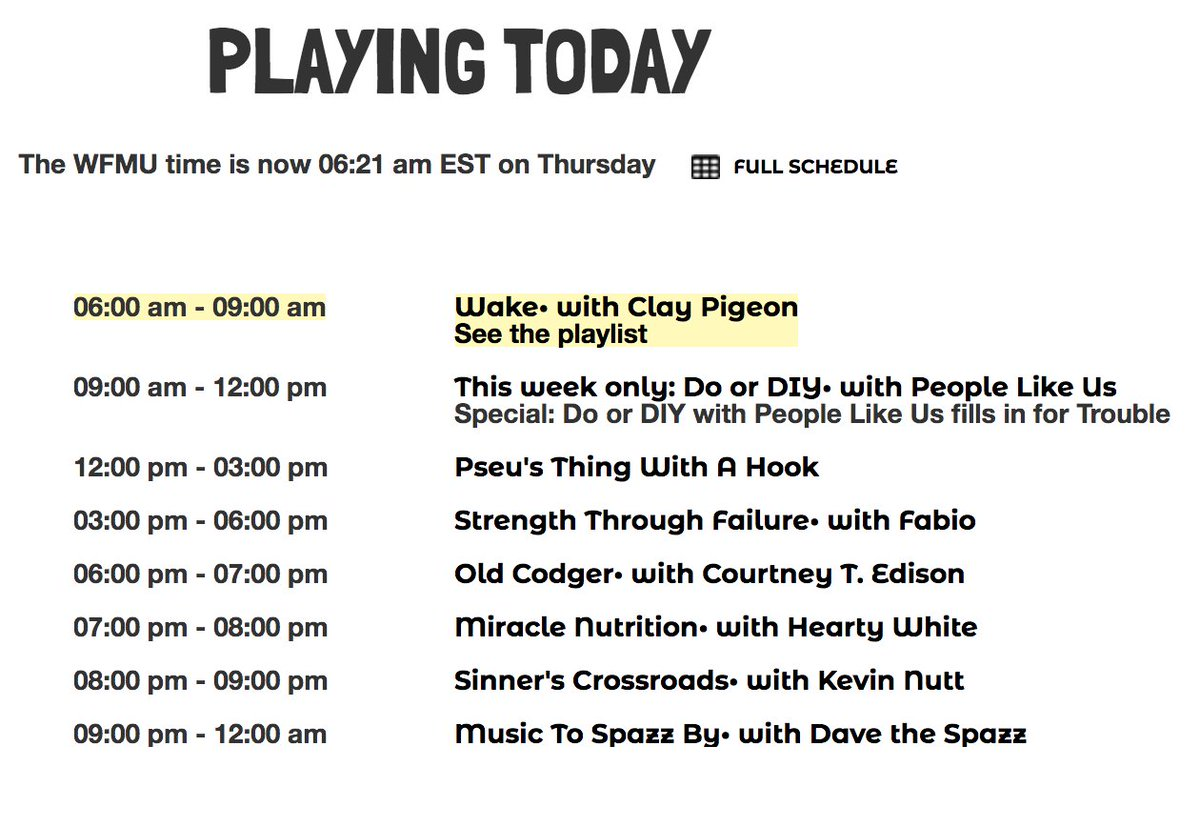 Today: I'm on the radio between @ClayPigeonWFMU and Pseu Braun