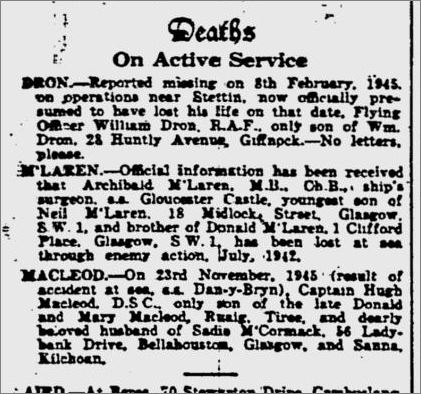 Glasgow Herald Monday 26th November 1945. On Active Service: Missing, PoWs, Repatriated, Deaths. #CWGC #WW2 #LestWeForget #ThisDayInHistory #WeRemember