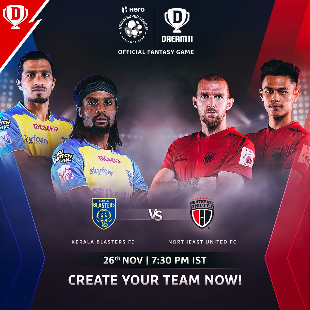 After a defeat in the last match, @KeralaBlasters would be eager to register their first points of the #HeroISL. They face a spirited @NEUtdFC side tonight ⚔️  Download the app and make your #Dream11 now. Click: . #LetsFootball #KBFCNEU  @IndSuperLeague