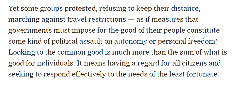 """The same day #SCOTUS helped religious institutions buck #COVID19 public health measures, the Pope penned a NYT op ed pleading with Christians to stop this """"personal freedom"""" nonsense and follow public health measures."""