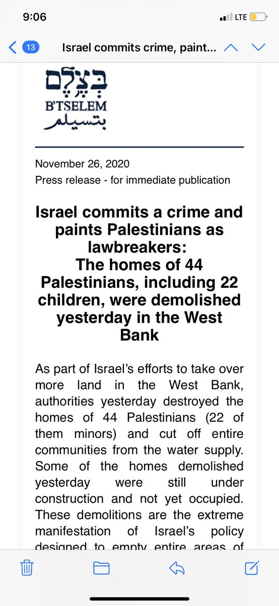 Last night Israel demolished homes of 44 Palestinians in the West Bank @btselem