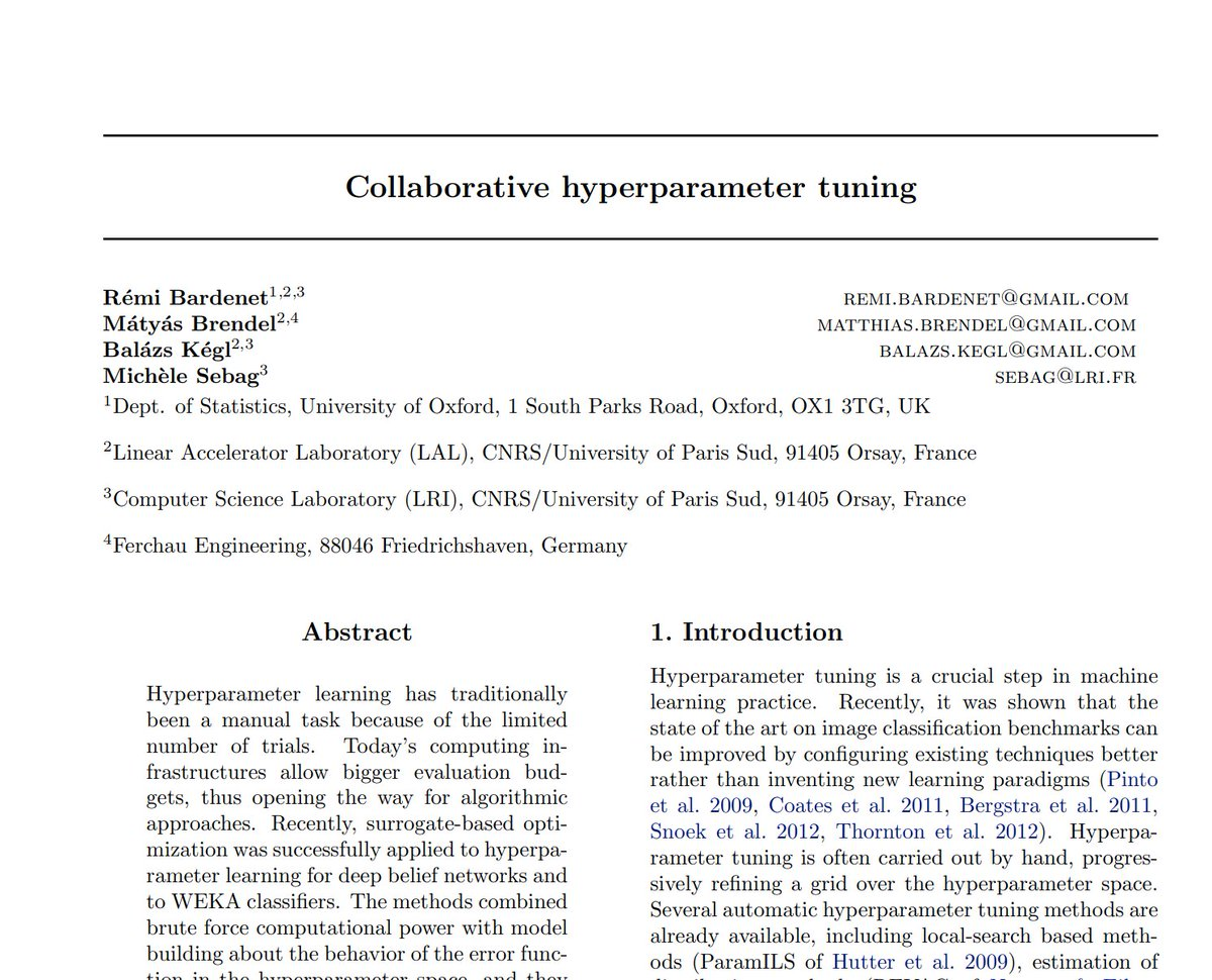 "Replying to @WiMLDS_Paris: [#FridayWiMLDSPaper 📜 curated by @MarieSacksick]  ""Collaborative hyperparameter tuning"" by Rémi Bardenet, @matthiasbrendel, @balazskegl & Michèle Sebag     #WiMLDSParis #WiMLDS #MachineLearning"