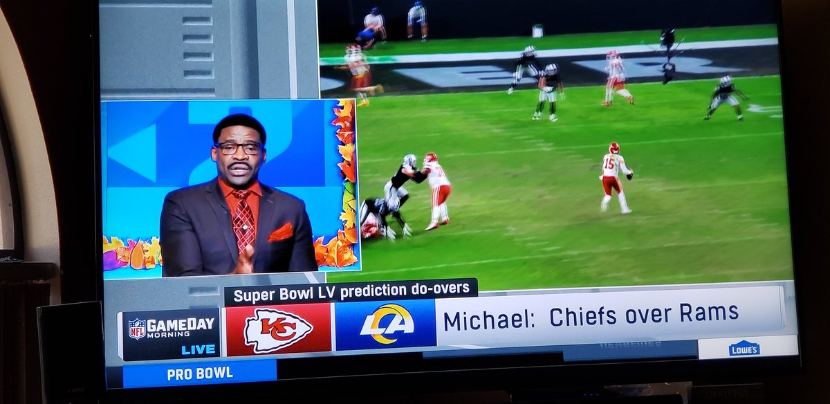They time of year folks as the @NFLGameDay crew does their #SBLV prediction do overs  Michael changes to #Chiefs over #Rams Kurt changes to #Chiefs over #Saints  Mooch keep original pick #Chiefs over #Saints  Rich changes to #Chiefs over #Saints  #nflgameday