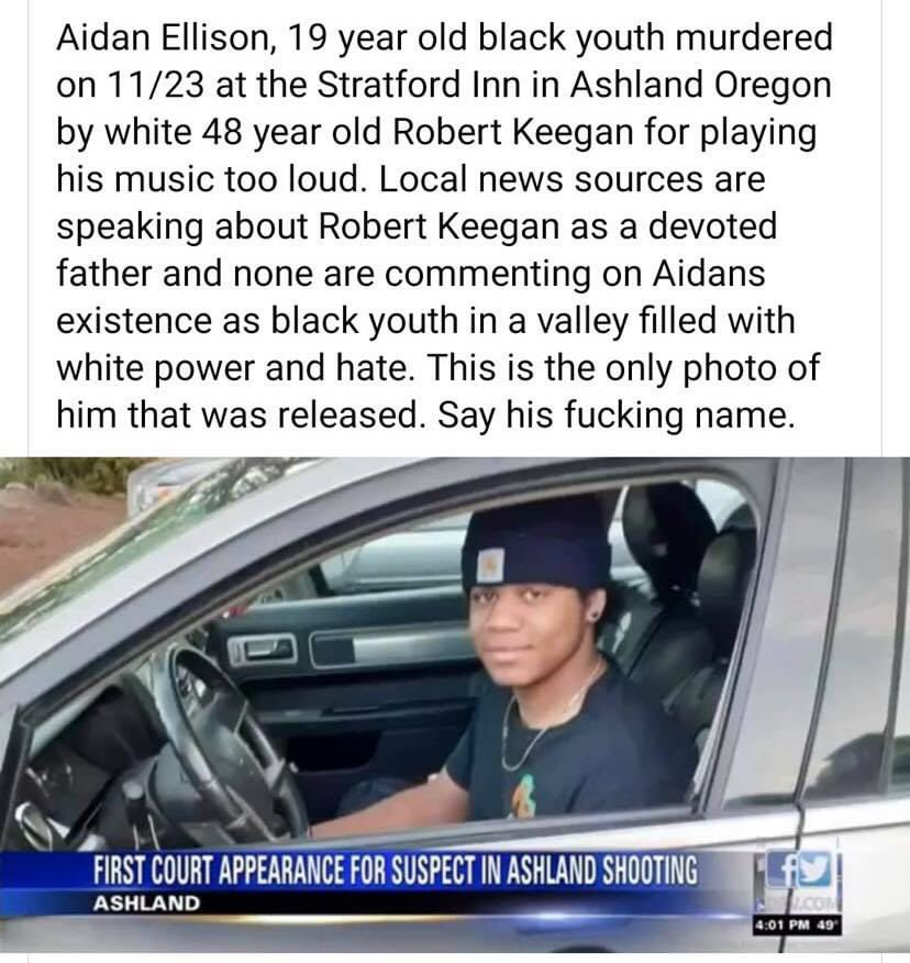 This makes me so fucking sick & NO ONE IS TALKING about it! #SayHisName #AidanEllison #BlackLivesMatter