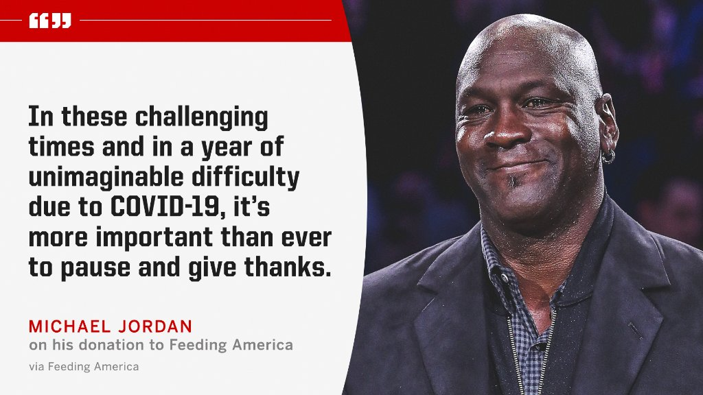 """Michael Jordan is donating $2 million from proceeds of """"The Last Dance"""" to Feeding America, a charitable food assistance network.  (via @FeedingAmerica)"""