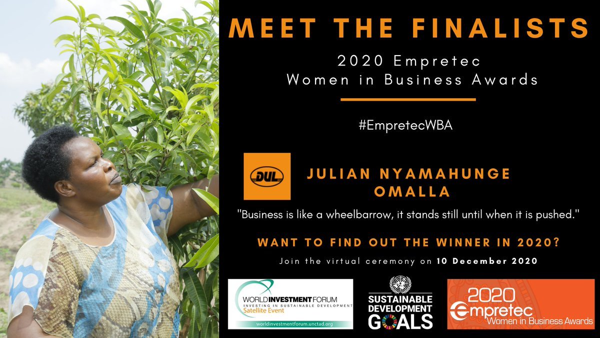 #EmpretecWBA: Julian Omalla or 'Mama Cheers' is CEO of Uganda's favourite juice maker, Delight Ltd.  She employs over 1000 people and exports to the likes of Rwanda, Kenya, Tanzania, and Sudan.  She's a finalist too in our #WomenInBusiness Awards.