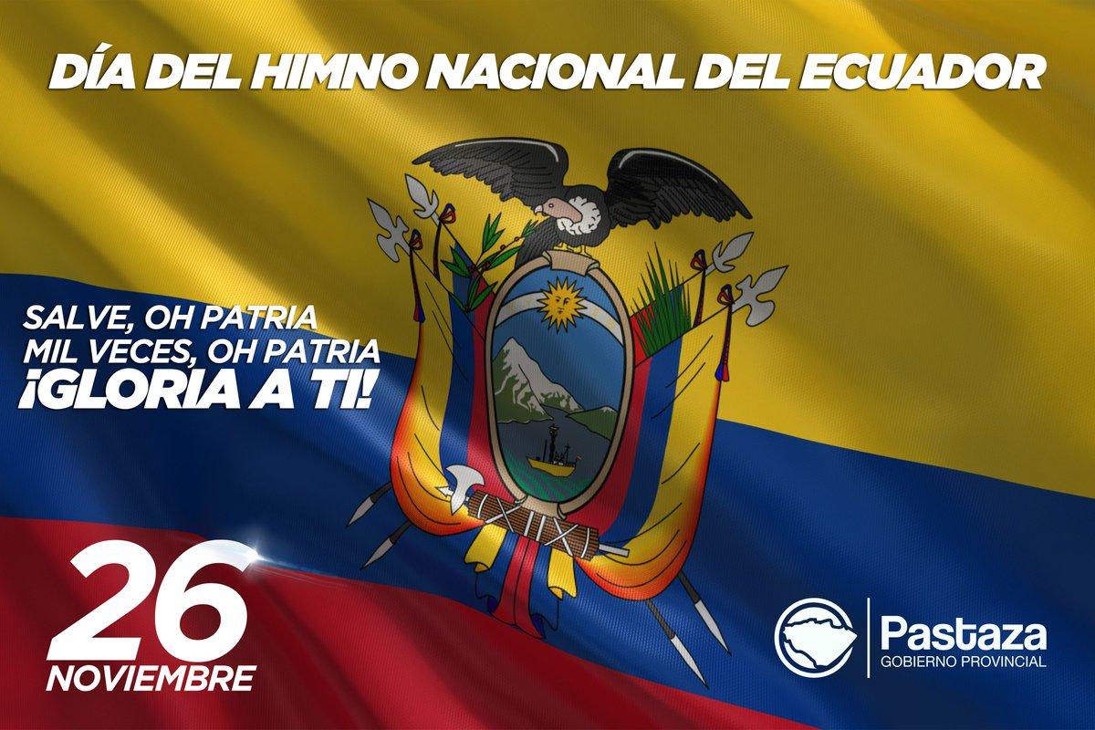 El 26 de noviembre, se celebra el Día del Himno Nacional de la República del Ecuador; cuya letra fue creada por el poeta ambateño, Juan León Mera y el músico compositor francés Antonio Neumane Marno.   ¡El Himno Nacional es un símbolo patrio de orgullo nacional! https://t.co/csFthcyG1X