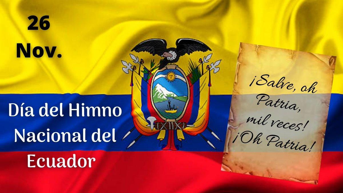 Día del Himno Nacional del Ecuador   26 de noviembre. El Congreso en 1948 oficializó las sagradas notas del himno escritas por el ambateño Juan León Mera Martínez y el músico de origen francés Antonio Neumane 🇪🇨 #DiaDelHimnoNacional  #MásHistoriasQueContar @primereporte https://t.co/yp70IU2PNJ