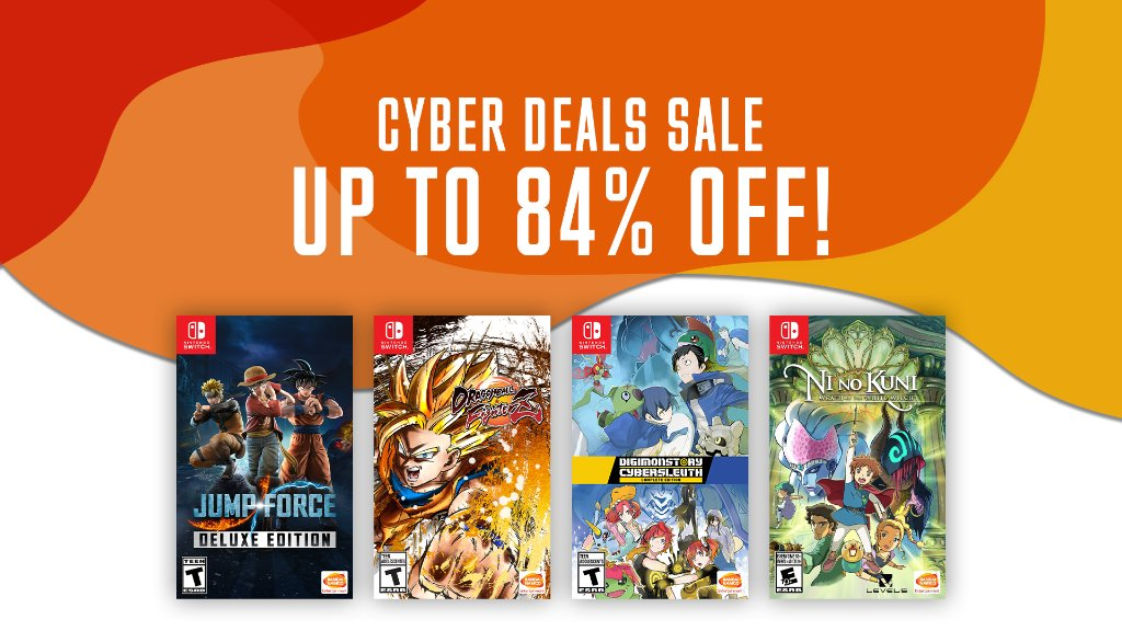 Take your games on the go during the Nintendo Cyber Deals Sale!  JUMP FORCE ➡️  DBFZ Ultimate Edition ➡️  Ni no Kuni ➡️  Digimon Story Cyber Sleuth ➡️
