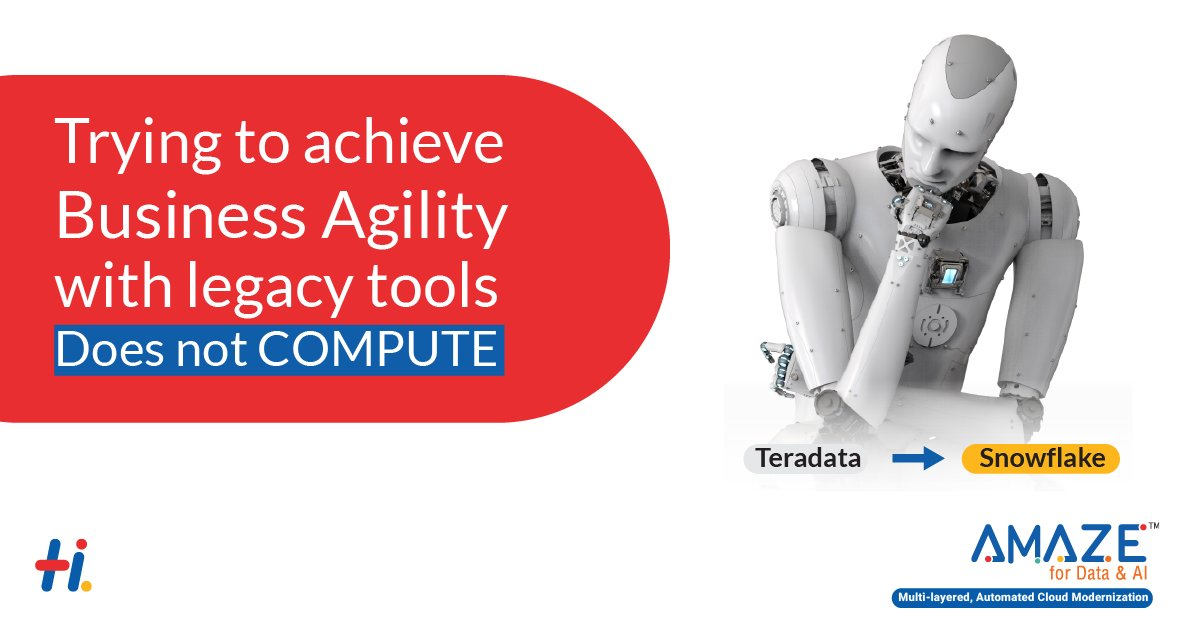 Enterprises using legacy data warehouses like Teradata traditionally operated at a maxed-out capacity. With Amaze for Data & AI we can help you overcome this. Read more: https://t.co/zcGGMssT7c #snowflake #datatransformation #amaze #bi https://t.co/dFMbCwn9Tp
