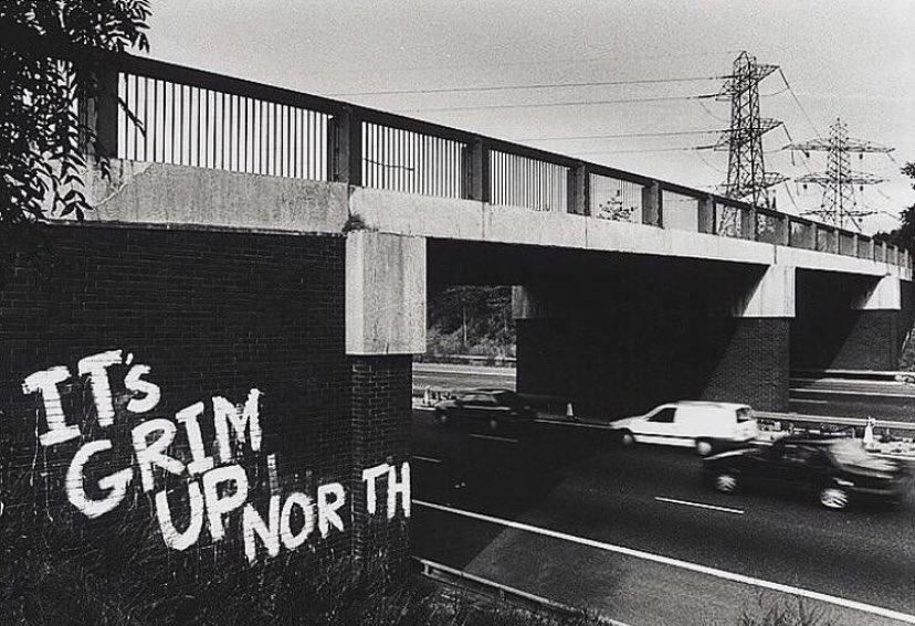 It's Grim Up North. M1 motorway, 1991. From our feature: Anarchists & underdogs. Images of Social & Political Graffiti in the UK. britishculturearchive.co.uk/2018/03/04/ana…