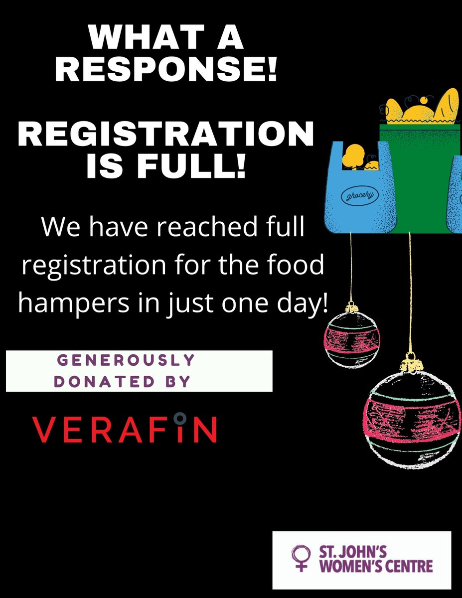 We have reached a full list of registration for the Food Hampers Verafin is organizing for us in just one day! Right now we are unable to take more names. We apologize for an inconvenience and we will let you know if anything changes! https://t.co/ZApLRT7oot