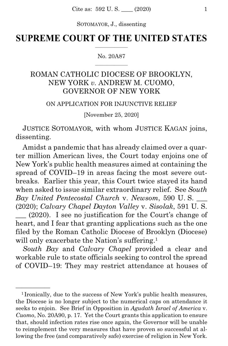 By 5-4 votes (with Justice Barrett in the majority and the Chief dissenting) #SCOTUS has enjoined NY's limits on in-person religious services pending appeals by Catholic and Jewish houses of worship:  https://t.co/3JCttByeDs  Justice Sotomayor's dissent gets right to the point: https://t.co/5bJeCoCgFA