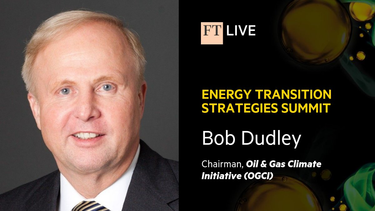 We're pleased to share that next Wednesday, 12:10pm GMT, OGCI Chairman Bob Dudley will be joining @FT Energy Editor @OilSheppard for a fireside chat at the @ftlive's Energy Transition Strategies Summit.   Make sure to tune in if you're attending! #FTEnergyTrans