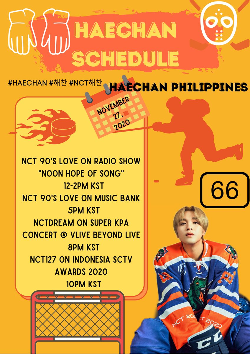 """[SCHEDULE] ☀️ 11272020  #NCT #90sLove on radio show """"Noon Hope of Song"""" ⏰ 12-2PM KST  #NCT #90sLove on Music Bank ⏰ 5PM KST  #NCTDREAM on Super KPA Concert @ VLIVE BEYOND LIVE ⏰ 8PM KST  #NCT127 on Indonesia SCTV Awards 2020 ⏰ 10PM KST #HAECHAN #해찬 #NCT해찬"""