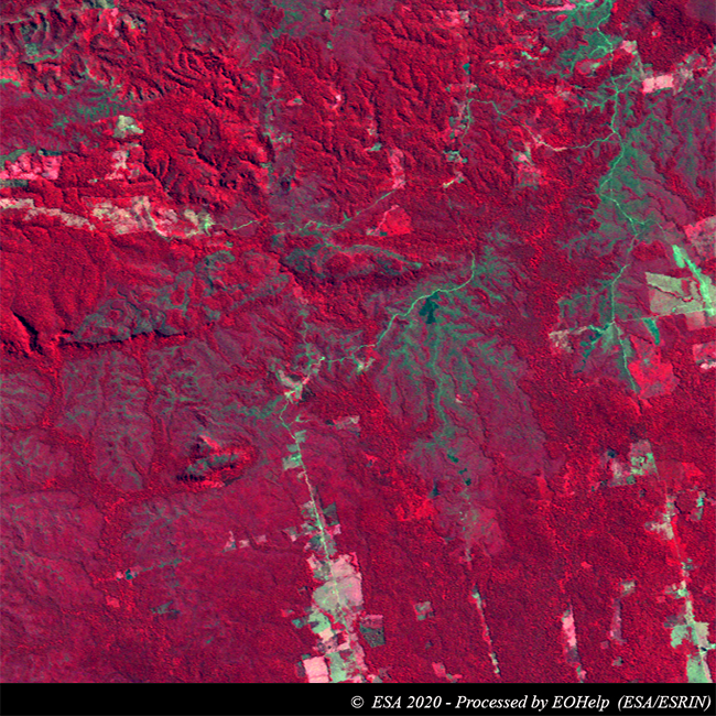 This comparison between a #Landsat5 1989 image and a #Copernicus #Sentinel2 2020 acquisition over  the #Brasilian State of #Rondonia, shows the huge #deforestation activity occurred in the region over the years.  See: