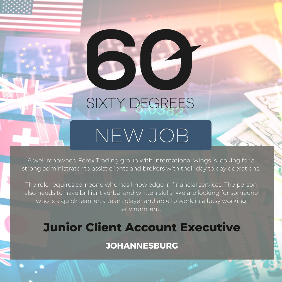 test Twitter Media - New #JobAlert - Junior Client Account Executive in Johannesburg  https://t.co/Stn7MgzDOe  #60Degrees #60DRecruiter #60Droles #forextrading https://t.co/8Z3ZJIUqnx