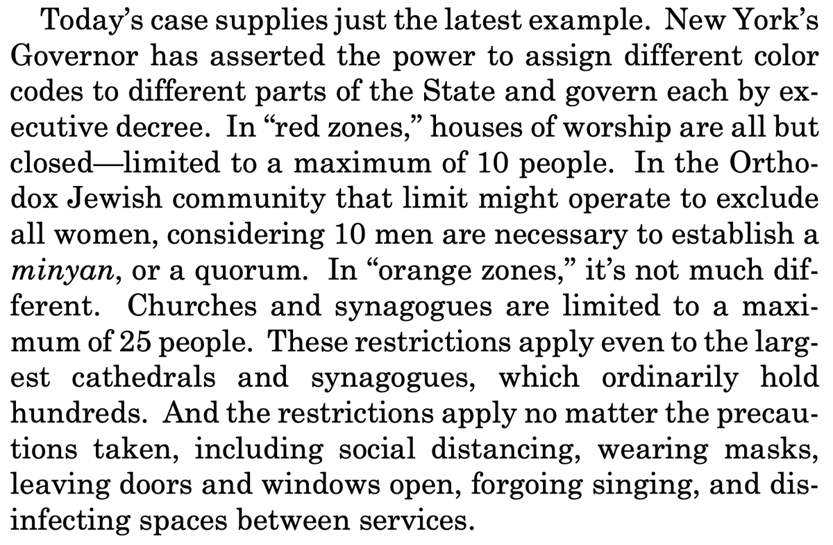 'Who knew public health would so perfectly align with secular convenience?' From Justice Gorsuch: https://t.co/9jbx3KL00X https://t.co/Z6yh81u23M