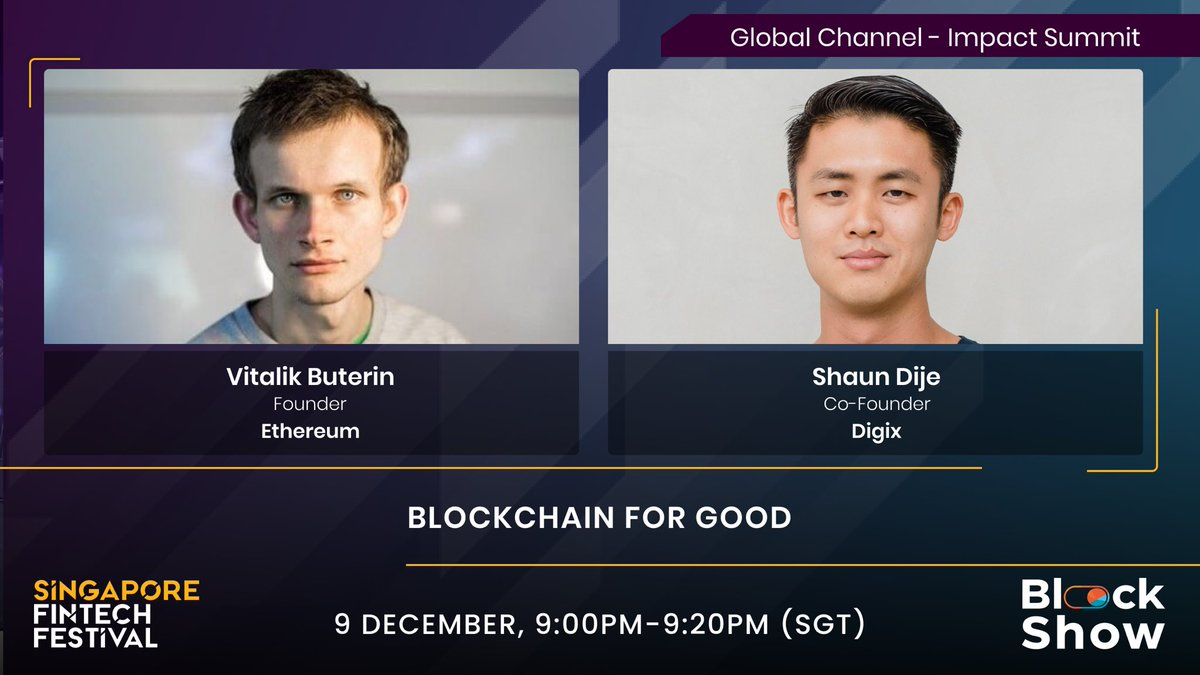 Hear from @VitalikButerin on his vision of blockchain and how it can be a system for the good of society. So be sure to tune in as he takes the SFF stage for the first time!