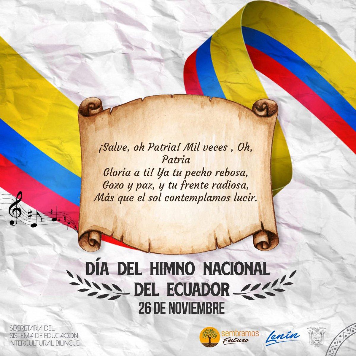 Este jueves 26 de noviembre se celebra el Día del Himno Nacional del Ecuador. Este símbolo patrio que nació de la mente y talento del poeta ambateño Juan León Mera Martínez (1832-1894) y el músico de origen francés Antonio Neumane Marno (1818-1871). https://t.co/L7FNJsjYpx
