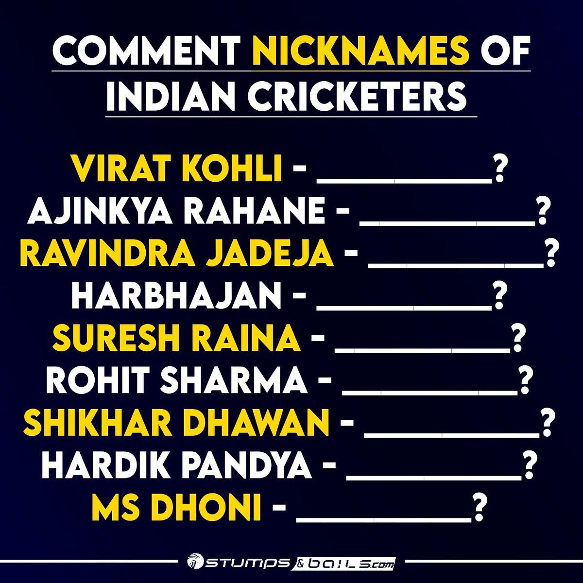Comment 👇  Follow us @stumpnbails #Cricket #indiancricketers #indiancricketer #quiz #questions #cricketquiz #ViratKohli #MSDhoni #ajinkyarahane #ravindrajadeja #harbhajansingh #sureshraina #rohitsharma #shikhardhawan #hardikpandya
