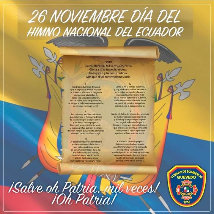 Hoy, 26 de Noviembre, se celebra el Día del Himno Nacional del Ecuador 🇪🇨 Sus autores📜📝 fueron el poeta ambateño Juan León Mera Martínez y el músico de origen francés🎶🎵🎶 Antonio Neumane Marno. El primero creó la letra y el segundo compuso la música. https://t.co/bqdkwKze8s