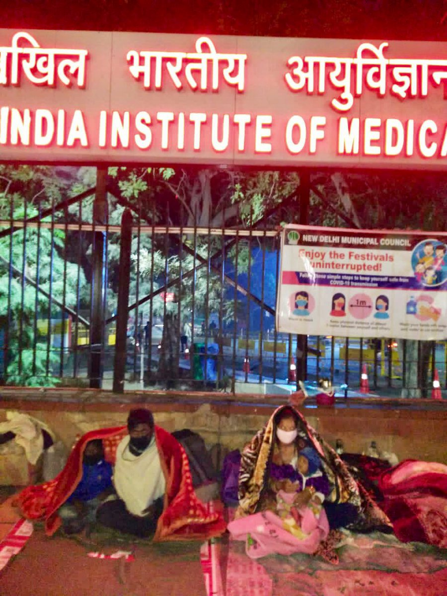 @Sudhanshu1 @Suparna_Singh These are poor patients & their family members, who are sleeping in open, outside AIIMS. A warm blanket & some hope.. the least we can do. Details: