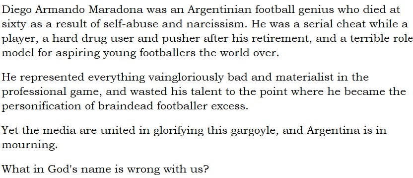 @nannypicker @Crosscolin88 What IS wrong with God? It took the silly sod's hand 40 years to scoop Maradona up. https://t.co/4IrY3IYfWI