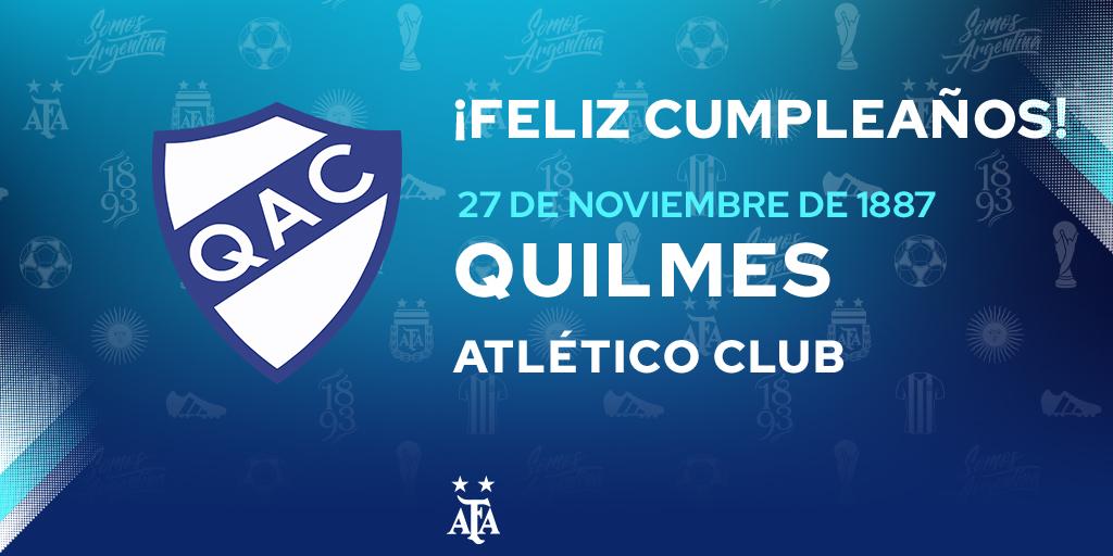 #FelizCumple La Asociación del Fútbol Argentino saluda a Quilmes (@qacoficial) en un nuevo aniversario de su fundación. ¡Felicidades! 🎊🎉