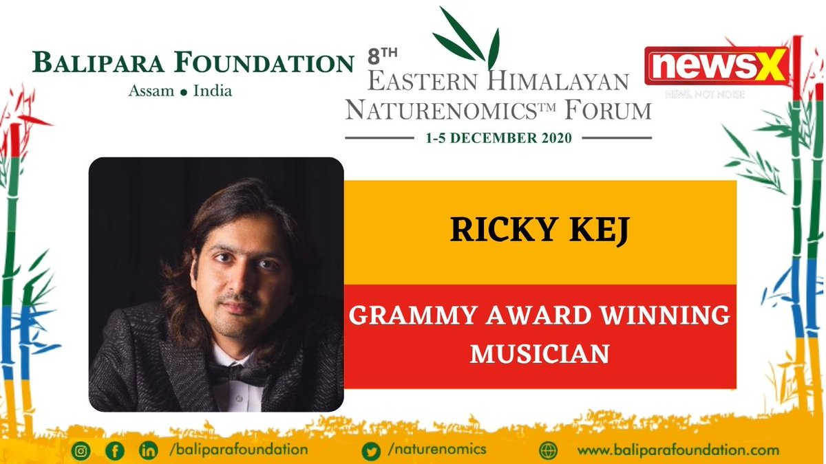 #EcologyIsEconomy  Join Ricky Kej, Grammy Award-winning musician (@rickykej) at the virtual edition of 8th Eastern Himalayan Naturenomics Forum 2020, 1st-5th December, on #NewsX #EHNF2020 @naturenomics Register now-