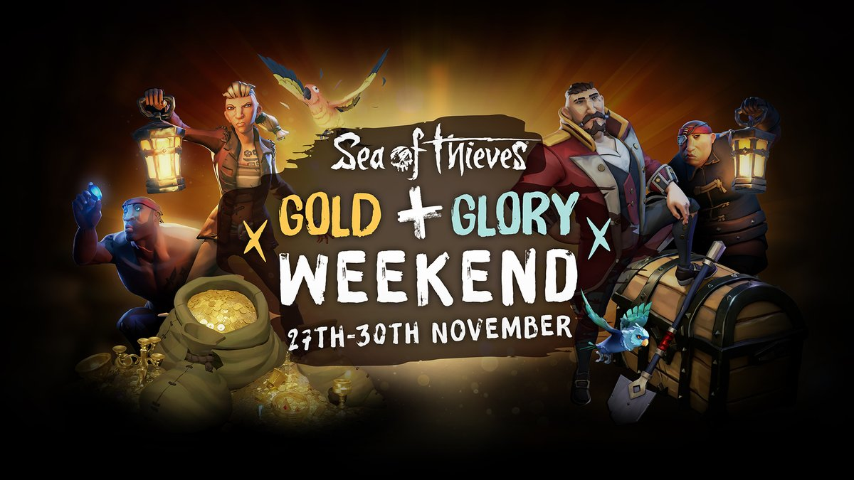 To show our gratitude over the Thanksgiving period, we've persuaded the Trading Companies to hold another Gold & Glory Weekend!  From 12am Nov 27th until 11:59pm Nov 30th (GMT) you'll earn twice the usual rep and gold for your hijinks upon the high seas. Good luck, pirates!