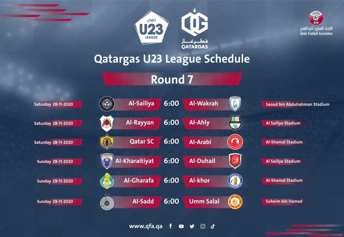 🗓 SCHEDULE | Qatargas #U23 League Round 7  @Qatargas #QFA #Qatar