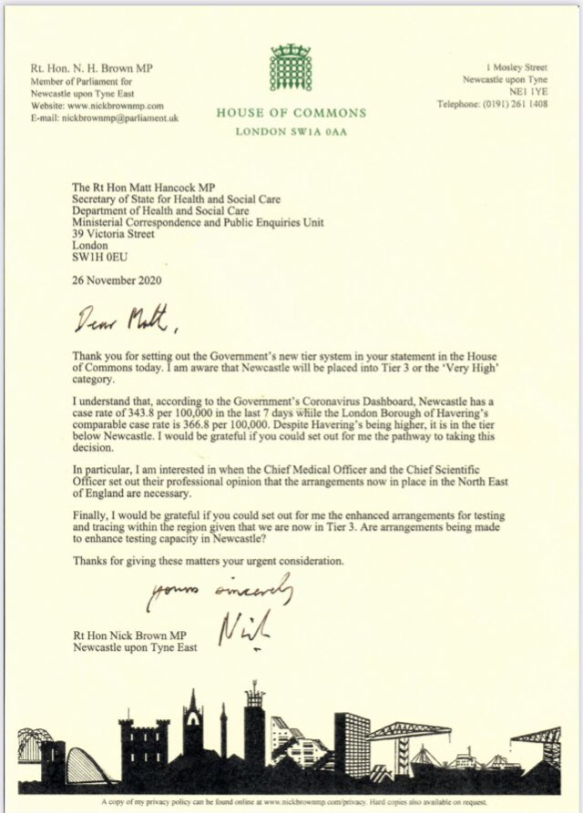 Labour Chief Whip and Newcastle East MP Nick Brown has written to @MattHancock to ask why Newcastle (Covid rate per 100k, 343.8) has been placed in Tier 3, while Havering borough in London (Covid rate per 100k, 366.8) is in Tier 2.