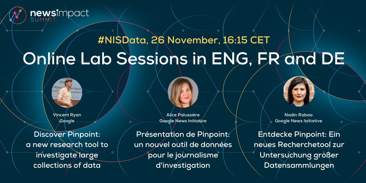 Last chance to join our #NISData workshops & learn all about Pinpoint, Google's new research tool to help journalists find stories and analyse huge collections of data! 🇬🇧English 👉 🇩🇪Deutsch 👉 🇫🇷Français  👉