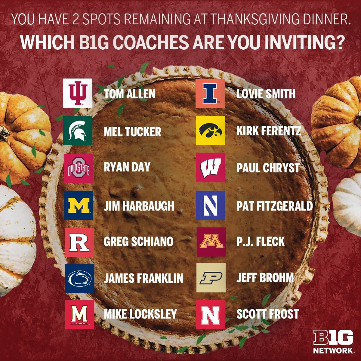 Happy Thanksgiving from B1G Network! 🦃  No wrong answers here. ⬇️