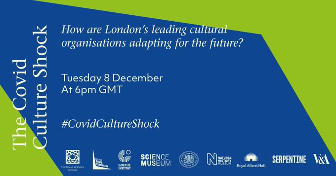 Join us along with our @SouthKensington neighbours on 8 December for a special, live online event: the #CovidCultureShock. Hear from London cultural leaders on lessons from the pandemic and mapping the future. Register now to book your free place 👉