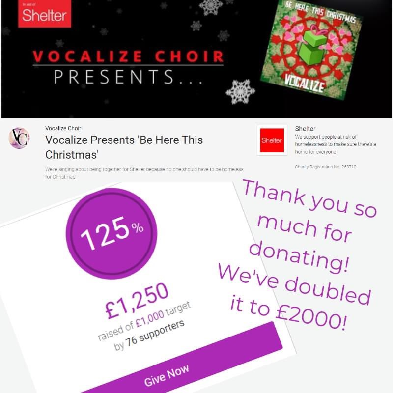 🥳🤩We've ABSOLUTELY SMASHED our fundraising target of £1000 after only 2 weeks! 🥳A HUGE THANK YOU to you for liking, sharing and commenting on our social posts. 🤩A HUGE THANK YOU for listening to and downloading our song Be Here This Christmas