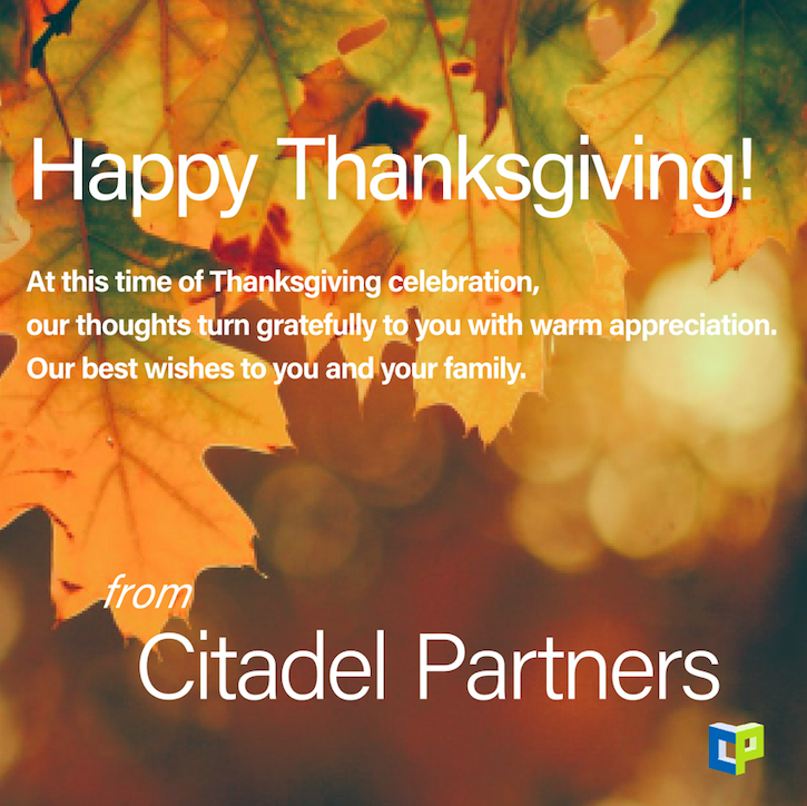 test Twitter Media - Happy Thanksgiving! At this time of Thanksgiving celebration, our thoughts turn gratefully to you with warm appreciation. Our best wishes to you and your family. #CitadelPartners #thankful #thanksgiving2020 #DallasCommercialRealEstate https://t.co/DPw8LAgY9E