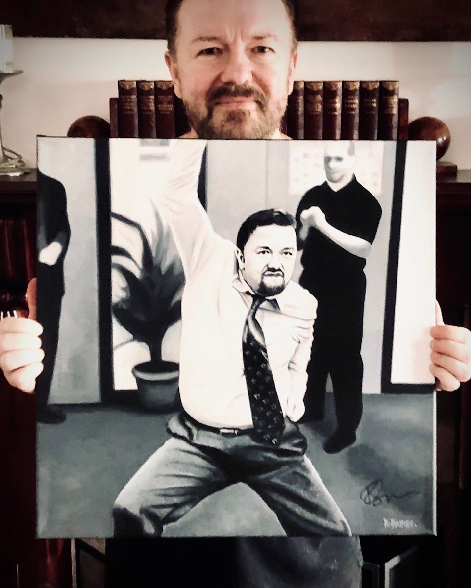 My painting of David Brent has now been hand signed by the one and only Ricky Gervais. It's up for auction on eBay with ALL proceeds being donated to my local hospice @StHelenaHospice  Dig deep and happy bidding on this very special one-off piece 👇