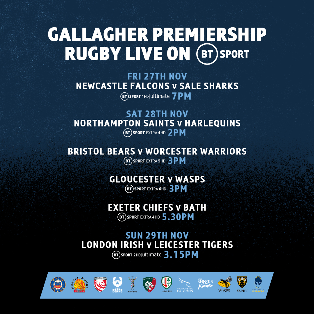 test Twitter Media - Don't miss a second of @premrugby action this weekend...  Friday ✔️ Saturday ✔️ Sunday ✔️  Every game live 😎 https://t.co/xzoNONX9z9