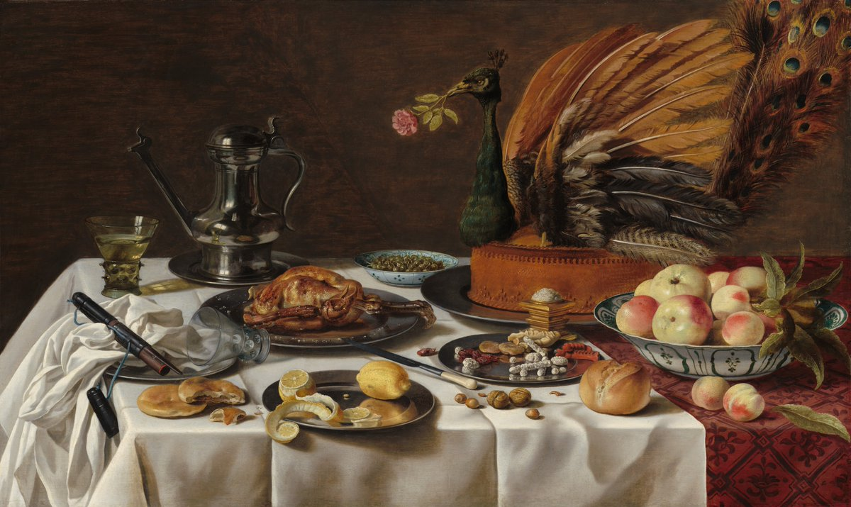 "One pie, and no Peacock please 🥧   Whether you're celebrating on Zoom or with a small gathering in person, we wish you all a happy and festive Thanksgiving 🦃  Pieter Claesz, ""Still Life with Peacock Pie,"" 1627, oil on panel, 30 1/2×50 3/4 in. https://t.co/2BW0yP29Oh"