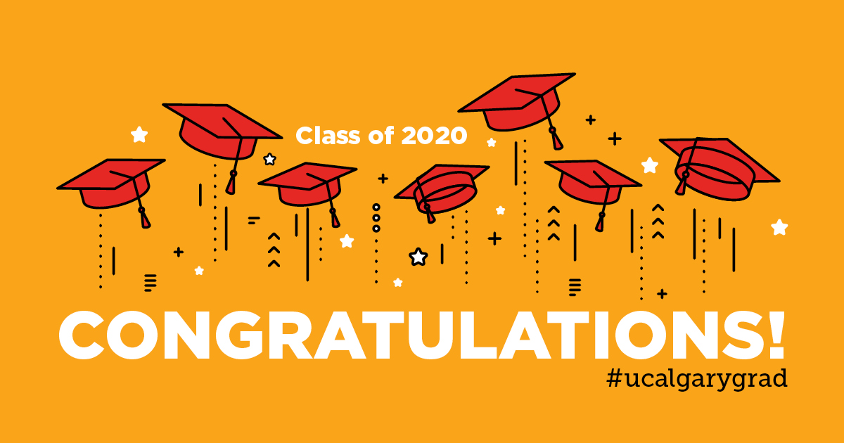 Congratulations to our #UCalgary Class of 2020! Tune in tonight for the live ceremony and post with the hashtag #UCalgaryGrad to have your photos and messages displayed for our grads to see: https://t.co/k6RHullYtJ https://t.co/75BLW6vNGE