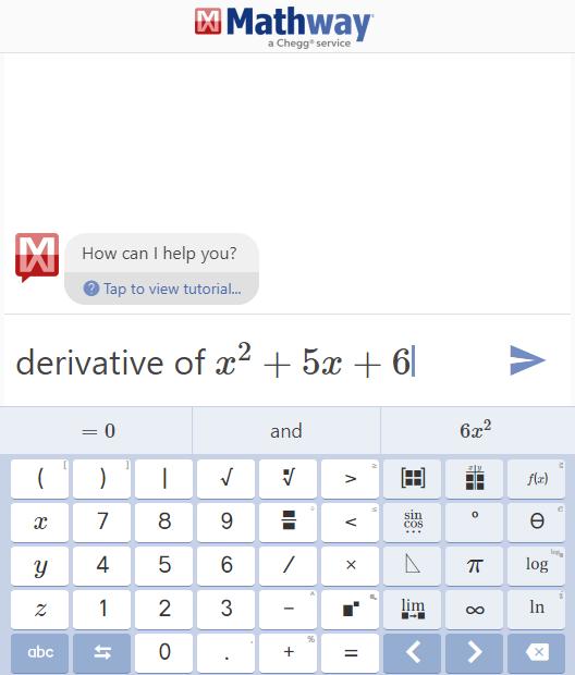 Si bien se pueden utilizar los botones de la aplicación para efectuar los cálculos, se puede indicar las instrucción (en inglés o español) y posteriormente obtener los resultados.