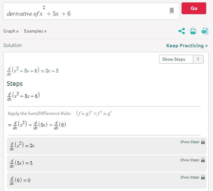 SymbolabSymbolab ( https://www.symbolab.com/) es el hijo de Wolfram Alpha y Mathway, jaja, pues provee funcionalidades parecidas a ambas calculadoras y su interfaz también una mezcla de ambas (pero con más publicidad), sin embargo, es igual cómoda de usar.