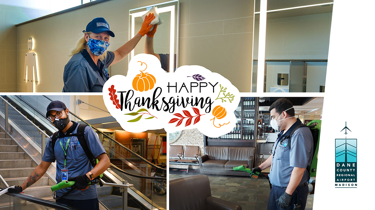 This Thanksgiving, we are grateful for our fantastic airport employees! Thank you to these unsung frontline workers who are keeping us safe including our cleaners, TSA agents, office staff, and everyone who supports MSN Airport. Happy Thanksgiving and safe travels!   #MSNAirport