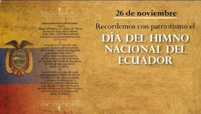#UnDiaComoHoy 🎙📑🎶 , 26 de noviembre conmemoramos el Día del Himno Nacional de #Ecuador. Nuestro noble y glorioso símbolo patrio nació de la mente y talento del poeta Juan León Mera y el músico Antonio Neumane. #DíaDelHimnoNacional https://t.co/BUrOZONZNI