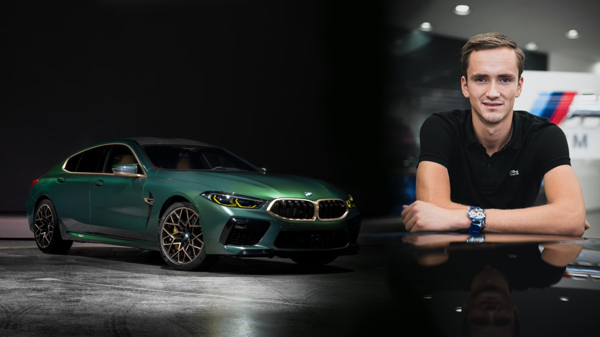 The right car for one of the fastest tennis pros out there, ranking world's No. 4: @DaniilMedwed.  The BMW M8 Gran Coupé First Edition. @bmwru   The #BMW M8 Gran Coupé. Fuel consumption (combined): 11.3 l/100 km. CO₂ emissions (combined): 260 g/km. https://t.co/twXzMrWMl3 https://t.co/9JiDYP05c6
