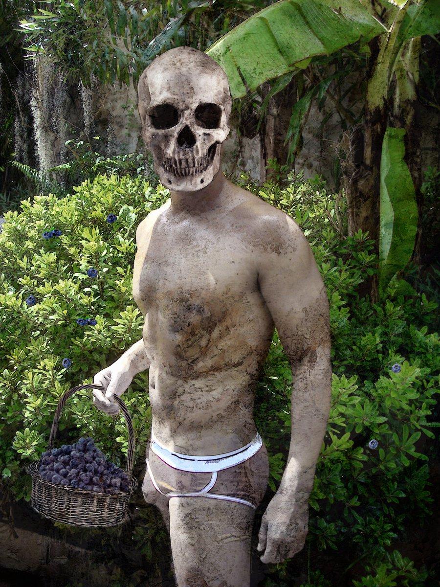 Thanatos Goes Blueberry Picking (The Skull Dancers)   Grey Cross Studios #art #digitalart #contemporaryArt #skulls #skeletons #death #afterlife #surrealism #alternateuniverse #otherworlds #multiverse #parallelworld #scifi #fantasy #fantasyart